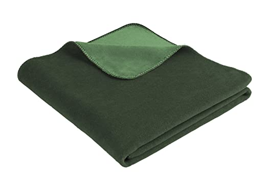 Biederlack uni Kuscheldecke Wohndecke 150x200 Unidecke Aspekt dunkelgrün//grün
