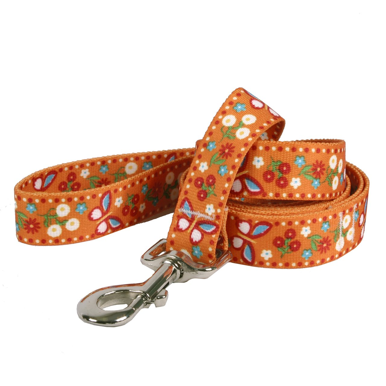 Yellow Dog Design Festive Butterfly Orange Dog Leash 3/8'' Wide and 5' (60'') Long, X-Large