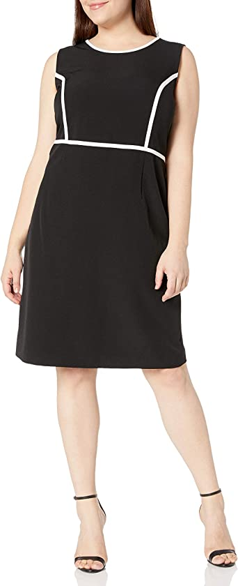 Kasper Damska Sleeveless Crepe Sheath Dress with White Piping Kleid: Odzież
