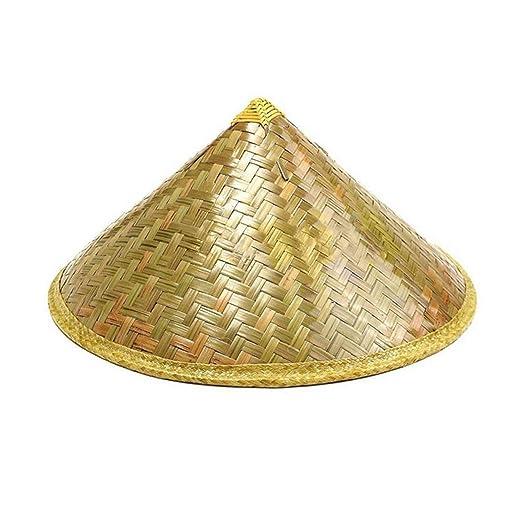 232dbf4a0b4 Amazon.com  Handmade Weave Straw Hat Chinese Style Bamboo Rattan Hats  Steeple Tourism Sunshade Rain Caps Fisherman Bucket Hat 1  Clothing