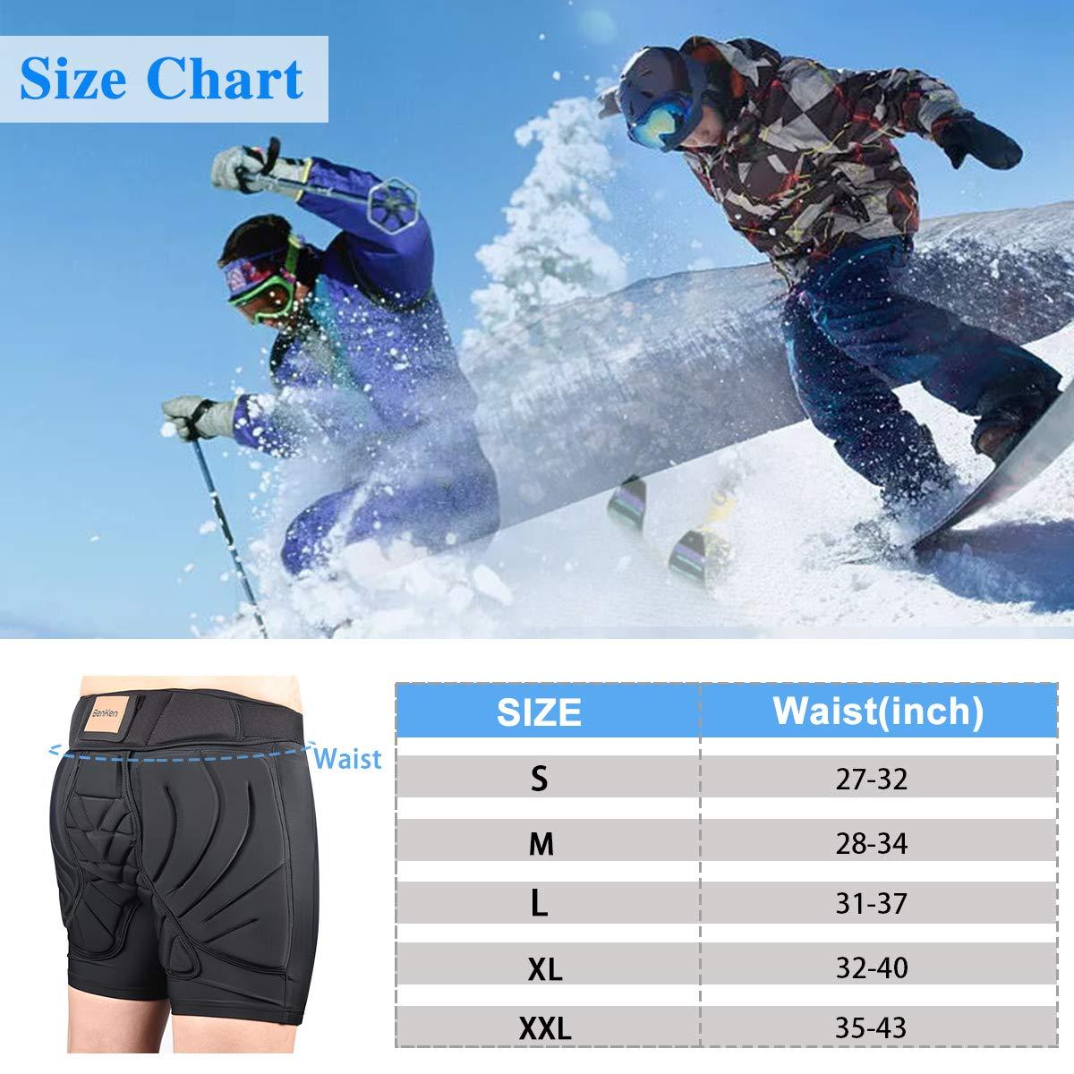 BENKEN Skiing Protective Padded Shorts Hosen Frauen M/änner 3D-Schutz Hip Butt Guard Pad Atmungsaktive Schlagfestigkeit f/ür Snowboarden L