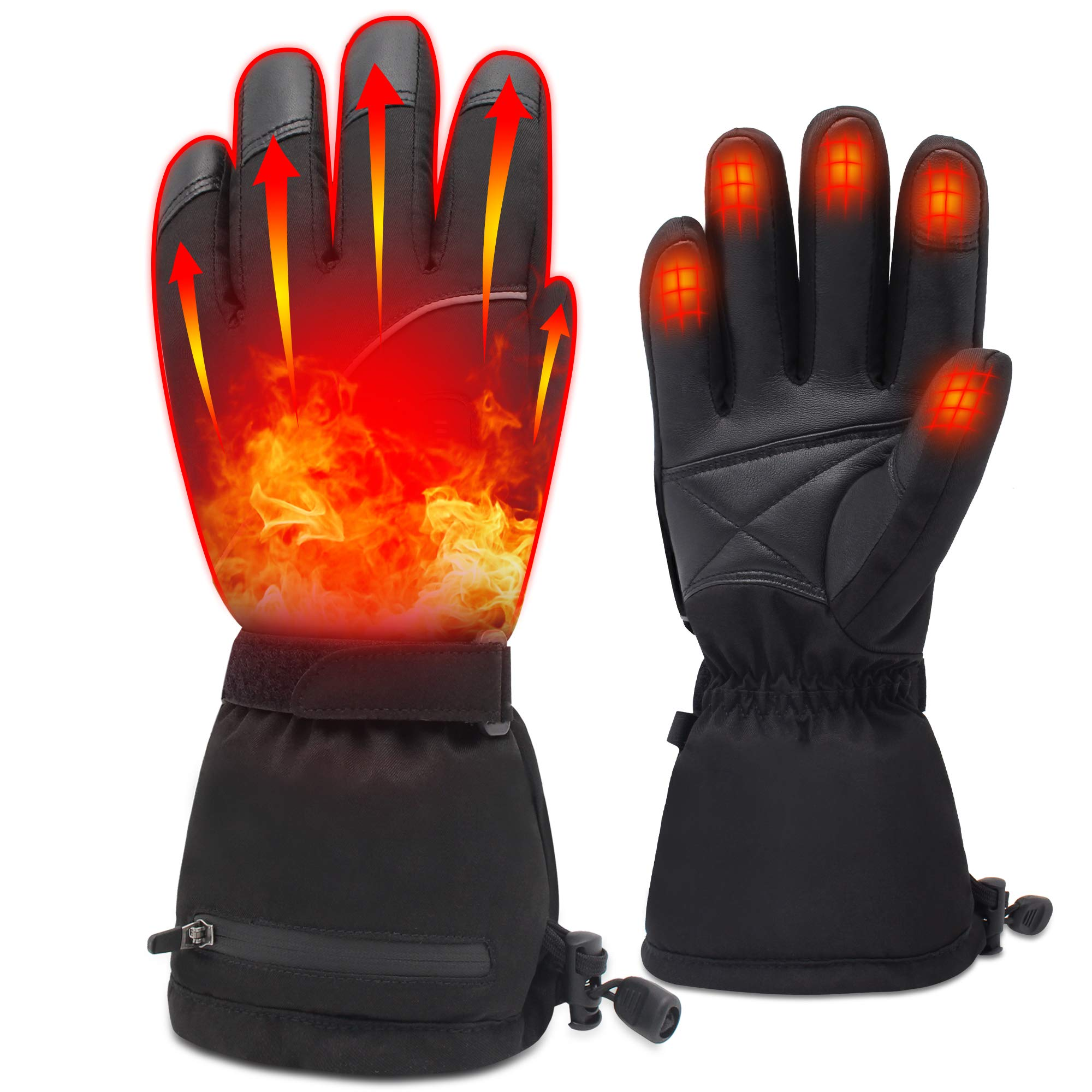 Men Woman Electric Gloves Rechargeable Batteries Heated Gloves Hand Warmers Gloves Heated Motorcycle Gloves Touchscreen Heated Gloves for Chronically Cold Hand, Cotton Lining 7.4V Gloves by MMlove