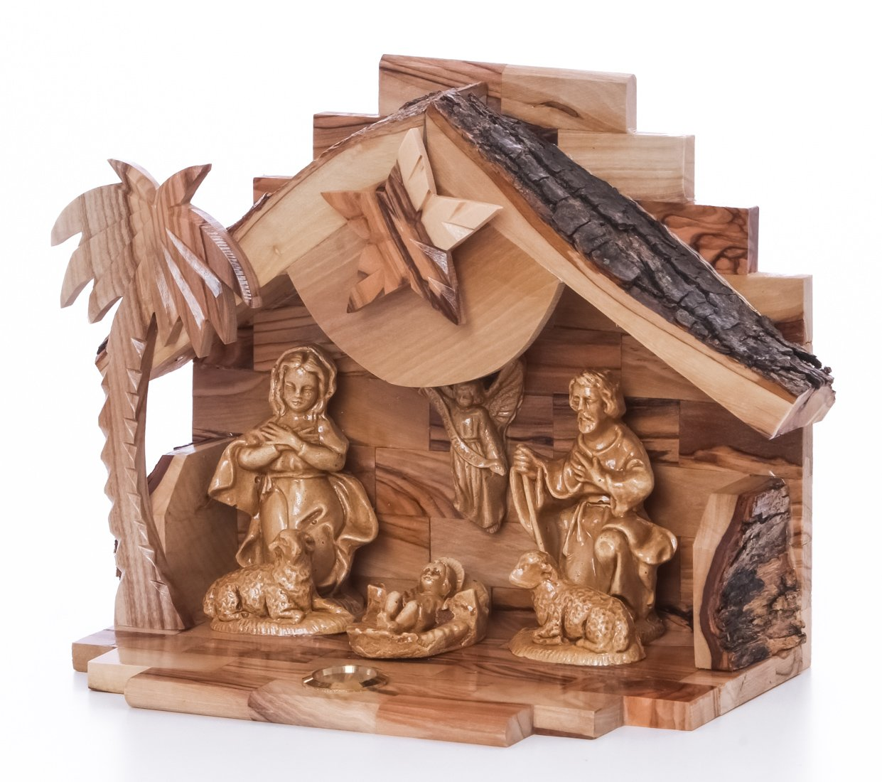 Zuluf Olive Wood Nativity with Ceramic Figures NAT021