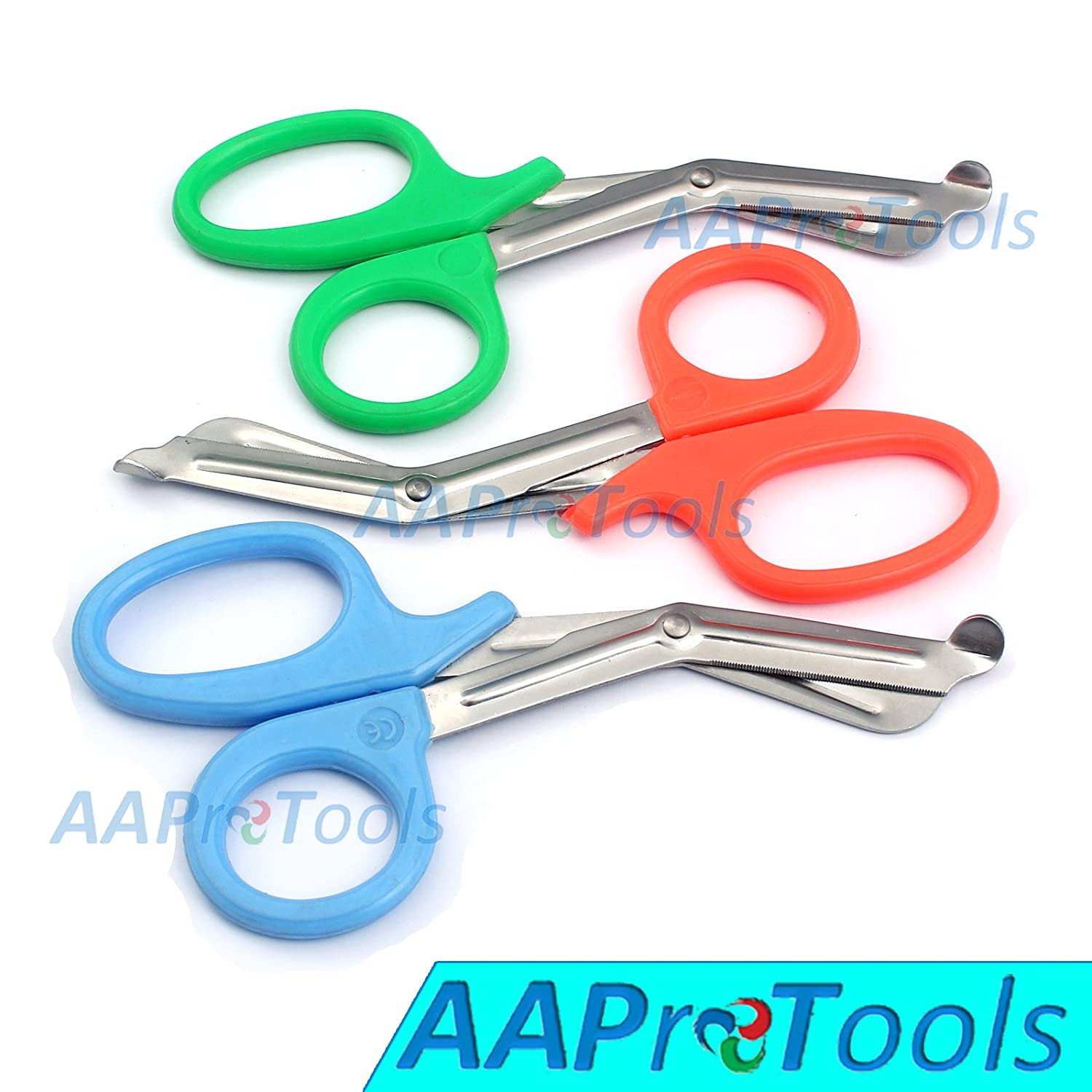 "AAPROTOOLS SET OF 3 ( ORANGE SKY BLUE GREEN) TRAUMA PARAMEDIC EMT SHEARS SCISSORS 7.5"" A+ QUALITY"