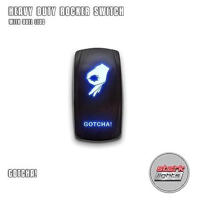 GOTCHA! - Blue - STARK 5-PIN Laser Etched LED Rocker Switch Dual Light - 20A 12V ON/OFF: Automotive
