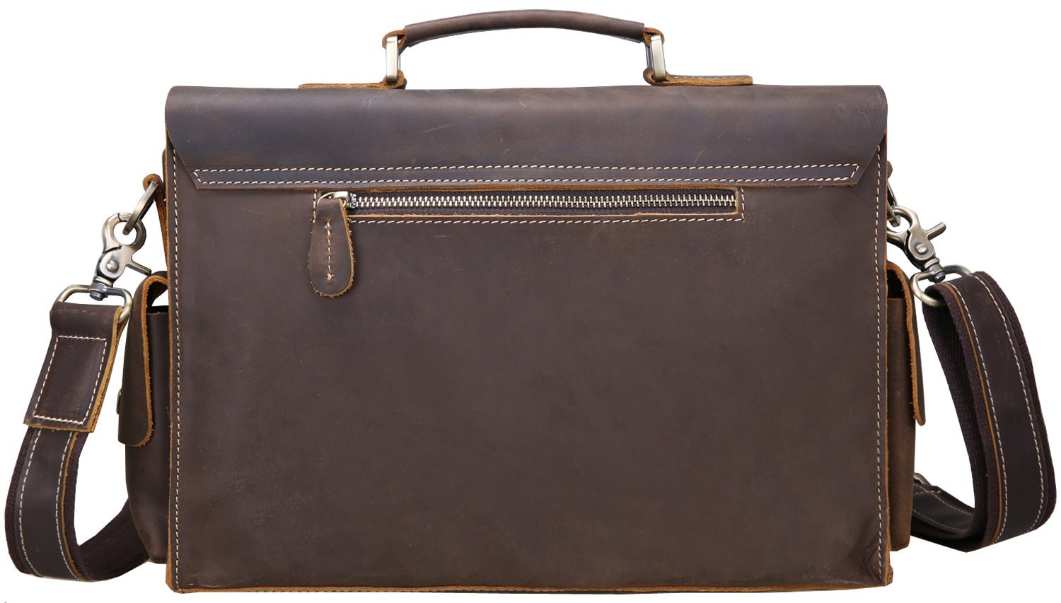 Iswee Vintage Leather Messenger Bag 13.3'' Laptop Briefcase Shoulder Bag for Men by Iswee (Image #3)