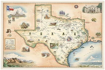 Map Of Northwest Texas.Amazon Com Northwest Art Mall State Of Texas Hand Drawn