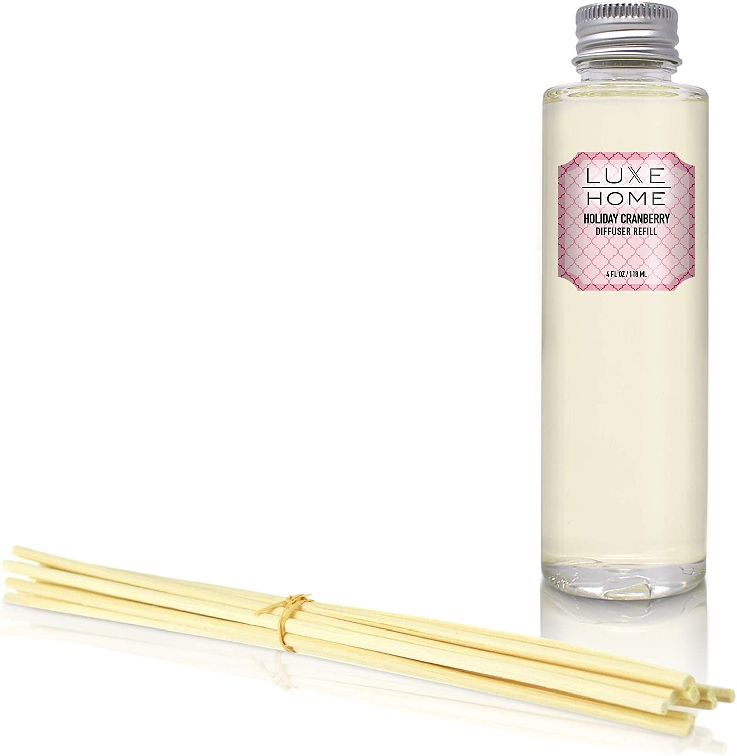 Luxe Home Cranberry Reed Diffuser Refill Oil with Sticks | Christmas Fragrance Oil & Home Decor | Black Currant, Cinnamon & Sandalwood | Liquid Air Freshener | Includes Replacement Reeds