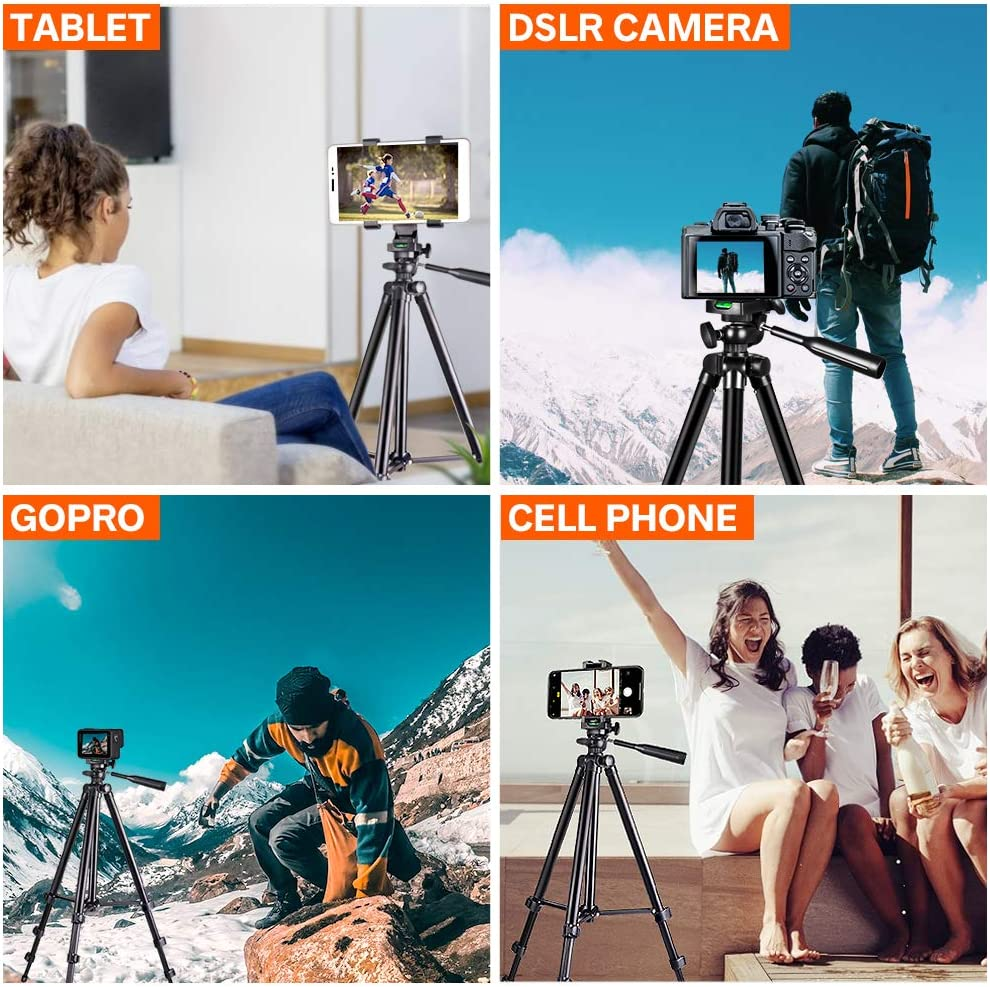 Phone Tripod Compatible with Smartphone /& Tablet /& Camera. UBeesize 50/'/' Extendable Lightweight Aluminum Tripod Stand with Universal Cell Phone//Tablet Holder Remote Shutter