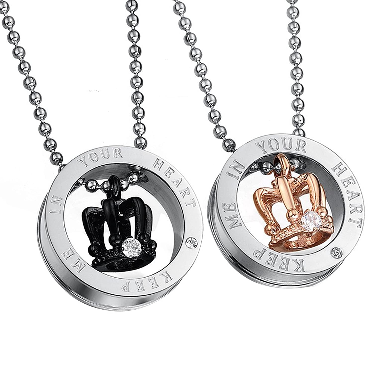 Stunning 2pcs Royal His & Hers Couples Gift Crown Pendant Love Necklace Set for Lover Valentine