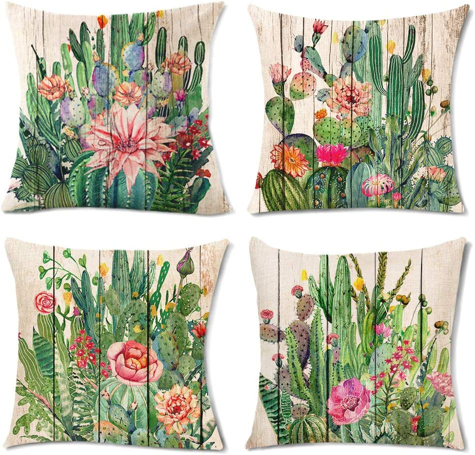 Cactus Decor Throw Pillows Decorative Outdoor Pillows for Patio Furniture Watercolor Tropical Desert Plant Wooden Grain Cushion Covers Square Cotton Linen for Sofa Bedroom 18x18 Inch 45x45 cm of 4