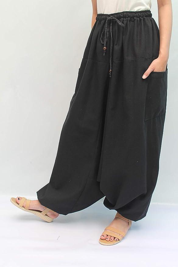 S-XL for Waist for 26-42, Gold Light Brown-1 Wynnthaishop100/% Cotton Baggy Boho Aladin Yoga Harem Pants