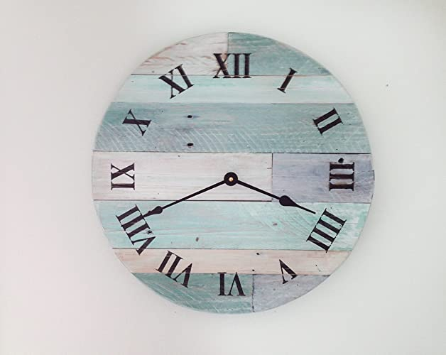 "Reclaimed Wood Wall Clock, Pallet wood clock, Rustic Beach Wall Clock,  16"" - Amazon.com: Reclaimed Wood Wall Clock, Pallet Wood Clock, Rustic"