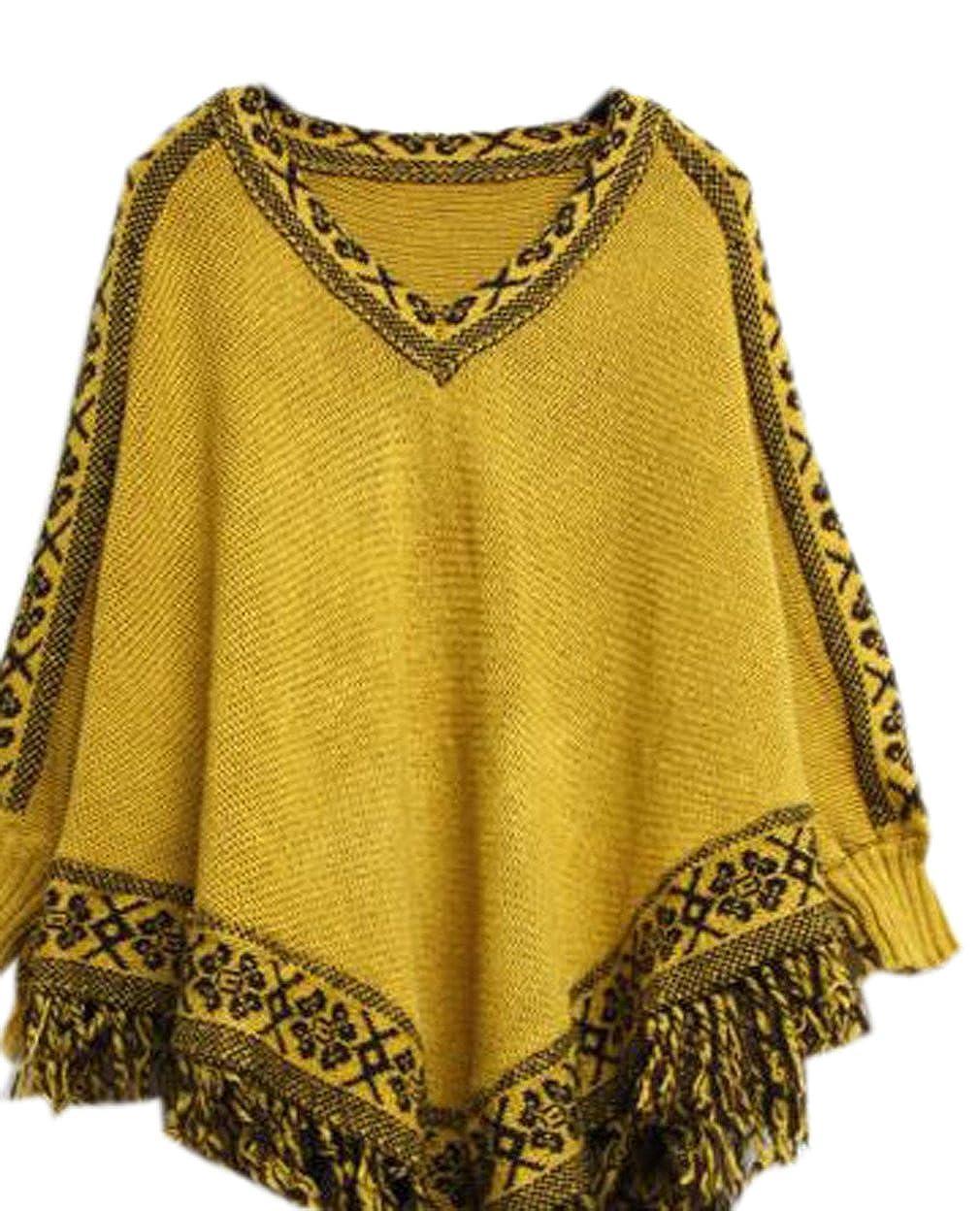 La vogue Damen Gestrickter Poncho Winter Pullover Umhang Cape
