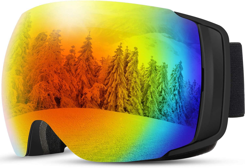 [2019 Nuevo] TDW Gafas de Esquí Anti-niebla, Lente magnética con Hebilla fija con Protección 100% UV, Esponja de 3 Capas,Compatible con Casco, Seguridad para Esquiar, Patinar y otros Deportes de Nieve