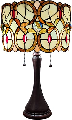 Amora Lighting Tiffany Style Table Lamp Banker Floral 21″ Tall Stained Glass Tan Brown Red Vintage Antique Light D cor Night Stand Living Room Bedroom Handmade Gift AM335TL10