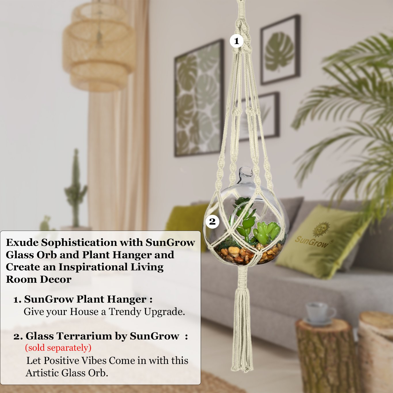 "Indoor-Outdoor Macrame Plant Hanger - All Natural Hemp Rope Braided Securely to Hold your Houseplants - Bird Feeder and Plant Holder by SunGrow - Extends up to a Length of 41"" and 10"" in Diameter"