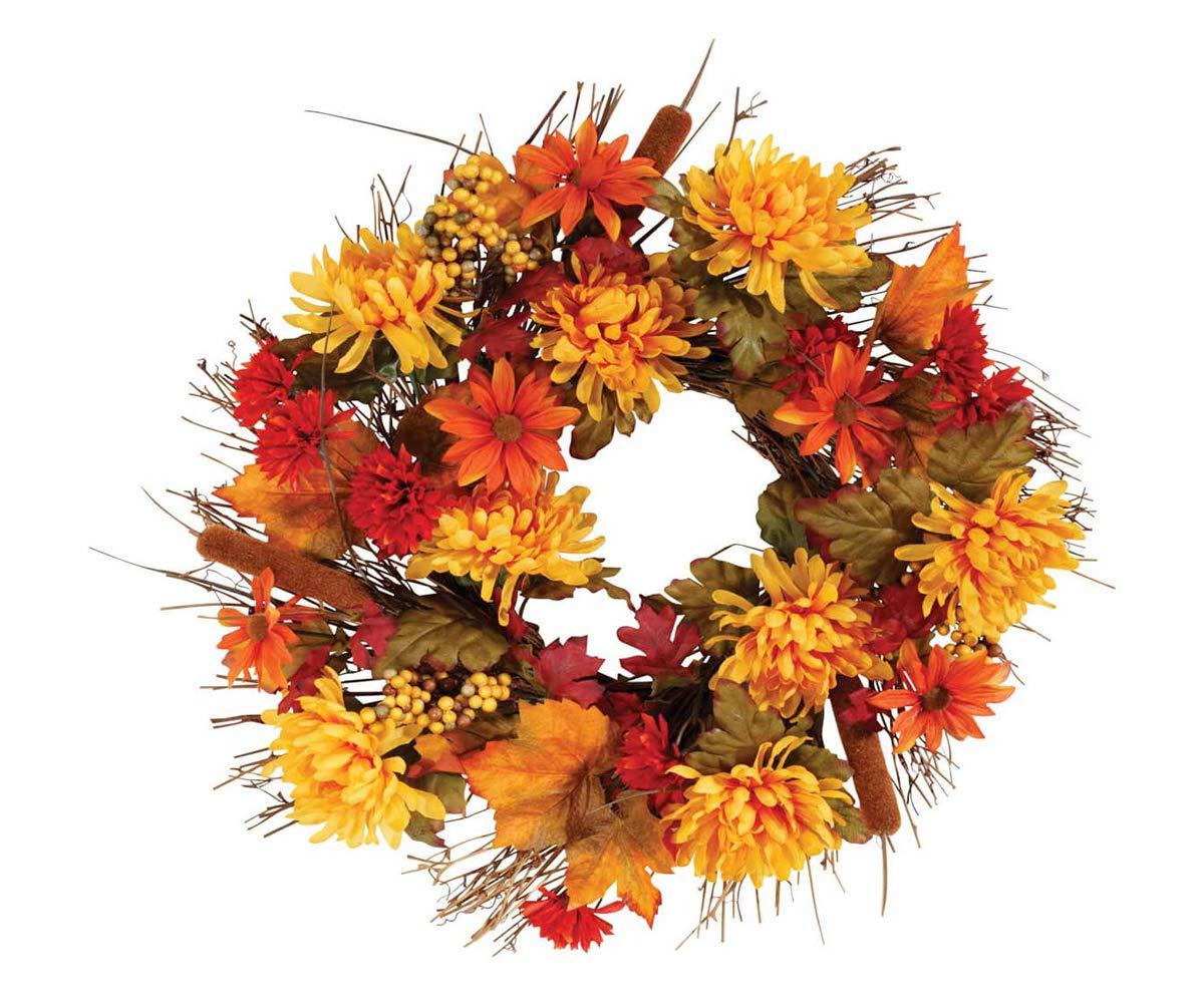 OakRidge 18 in. Front Door Autumn Flower and Leaves Wreath
