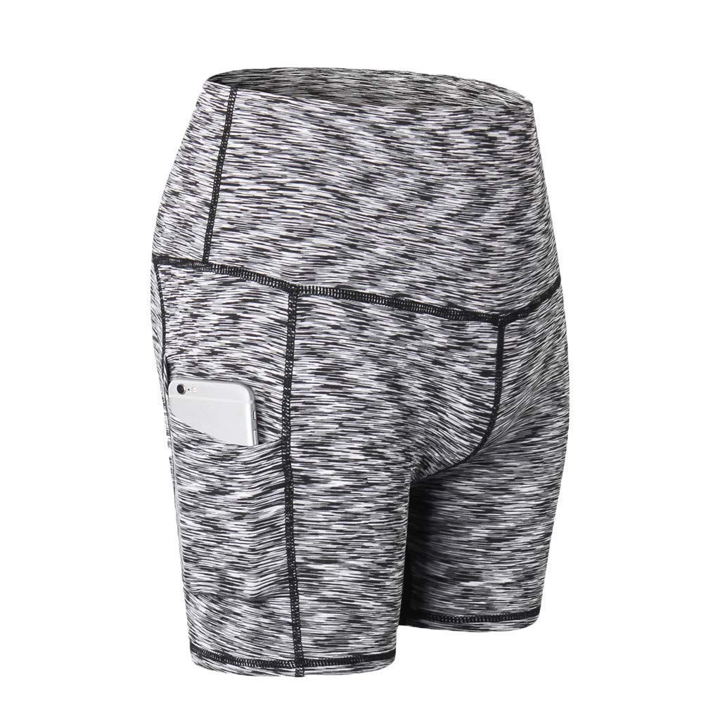 Yago Pants for Women, High Waist Out Pocket Solid Color Workout Sports Running Fitness Short Pants (S, Beige)