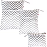 Damero 3pcs Pack Wet Dry Bag for Cloth Diapers Daycare Organizer Bag, Gray Chevron