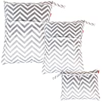 Damero 3pcs Pack Wet Dry Bag for Cloth Diapers Nappy Bag Daycare Organiser Bag, Grey Chevron