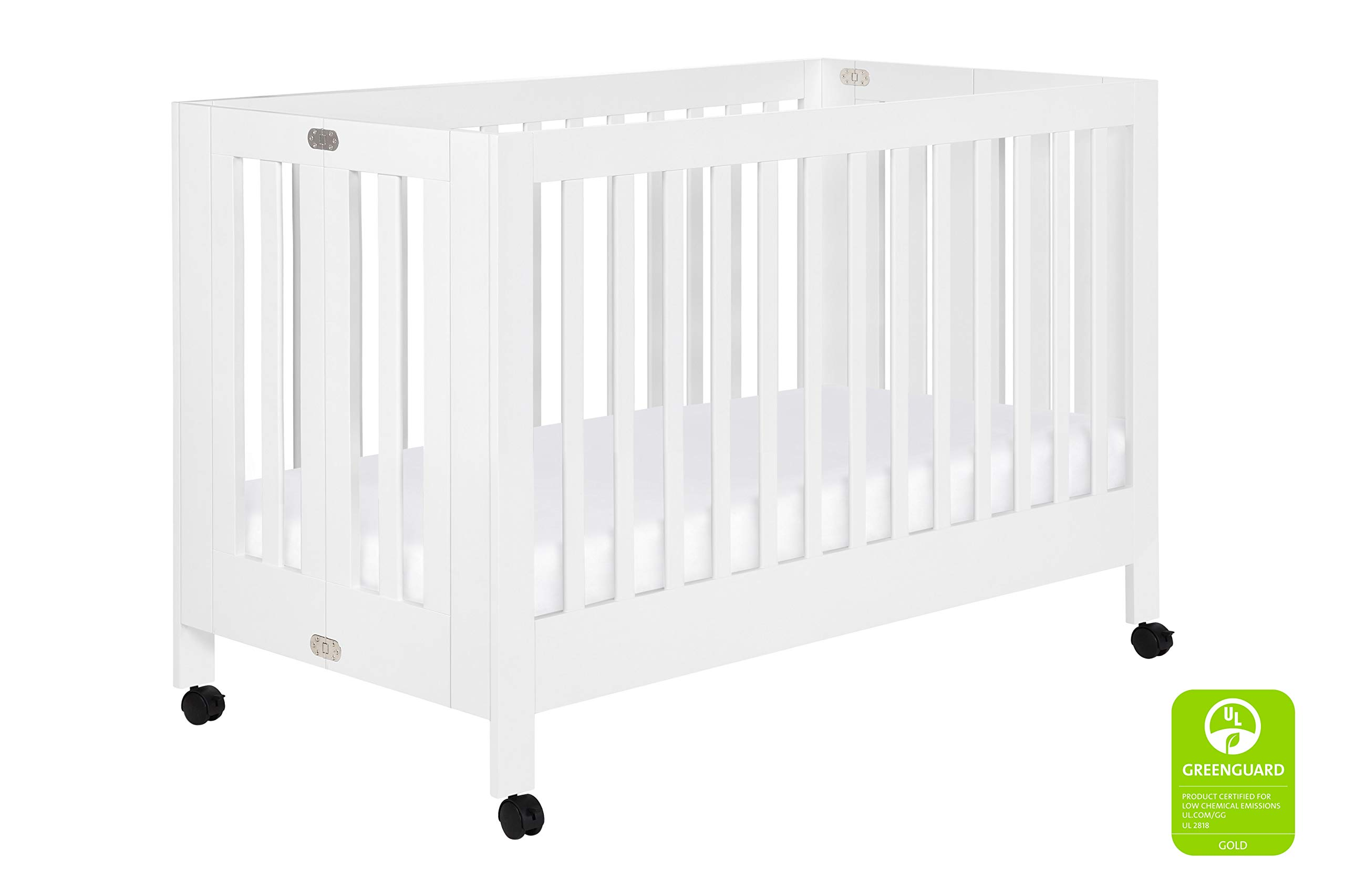 Babyletto Maki Full-Size Portable Folding Crib with Toddler Bed Conversion Kit, White by Babyletto