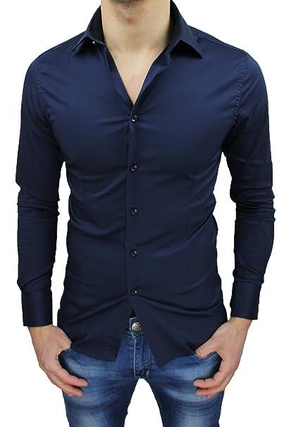 new arrivals bbe80 aa9c7 Camicia uomo sartoriale blu casual elegante slim fit top quality