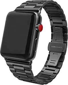 SWEES Stainless Steel Metal Bands Compatible with iWatch 42mm 44mm Series 6, Series 5, Series 4, Series 3, Series 2, Series 1 SE Sports & Edition, Replacement Ultra Thin Slim Link with Metal Clasp, Black
