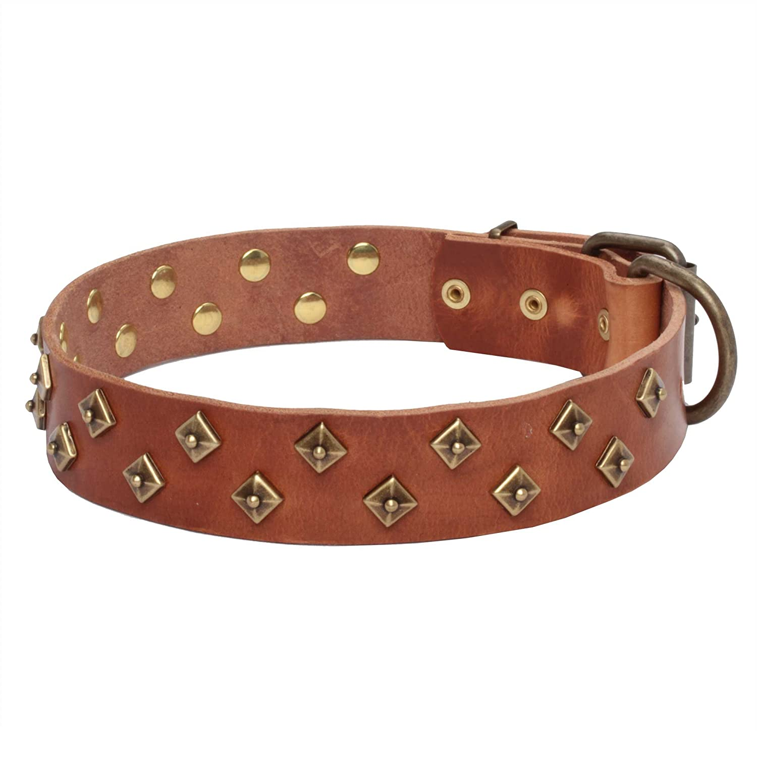 23 inch Tan Leather Dog Collar with Brass Pyramids  Haute Couture  1 1 2 inch (40 mm) wide