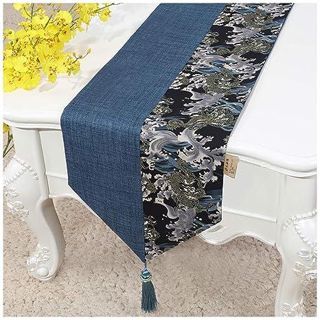 Caminos de mesa Elegante Mesa de Corredor Borla Decoración Azul ...