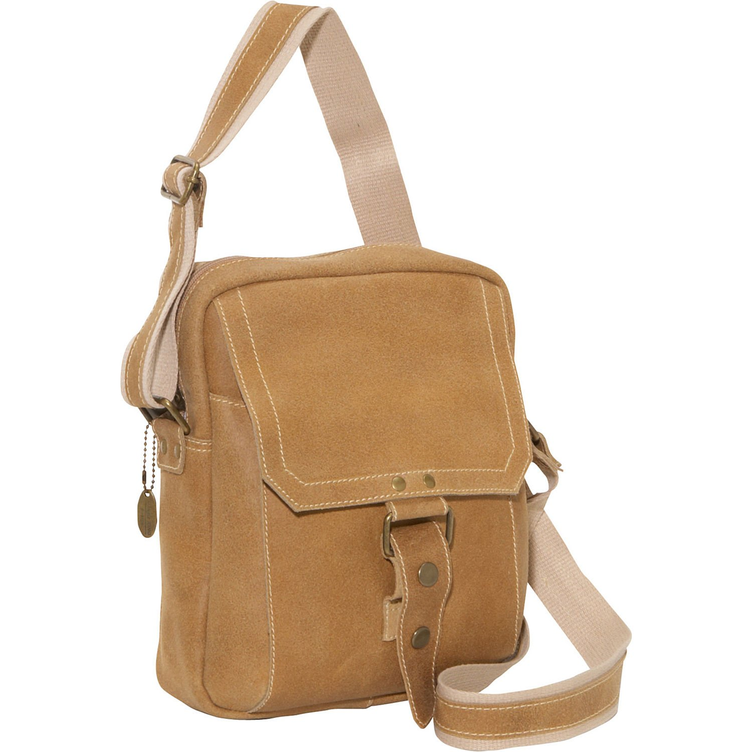 David King Distressed Leather Man Messenger Bag in Tan