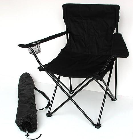 Sillón de pesca, camping – Silla plegable con soporte para bebidas y funda – Varios colores, negro