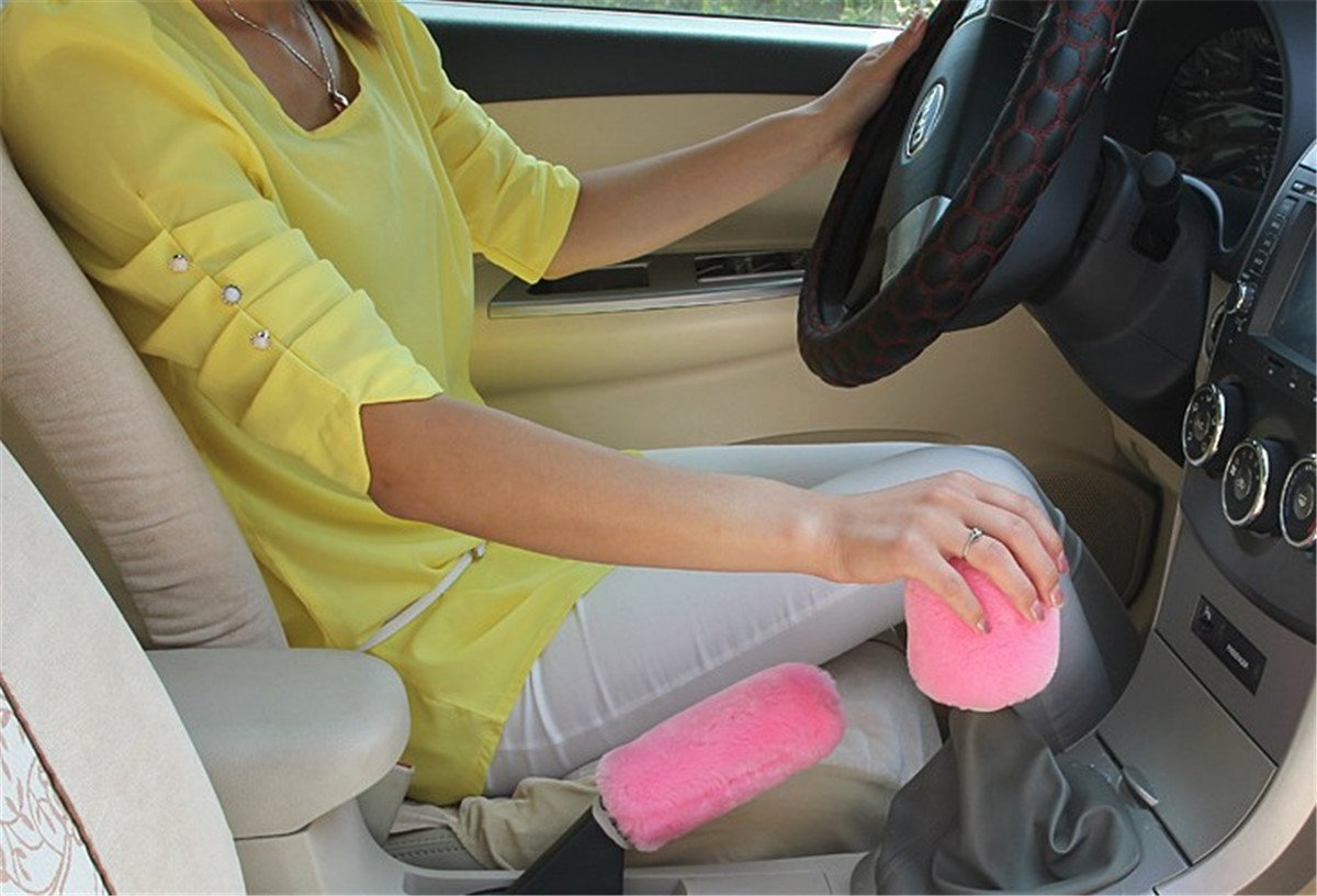 Wine red Fochutech Car Plush Handbrake Gear Shift Cover Auto Handle Hand Break Protect Accessories Case Sleeve Universal Stick Anti-Slip Sports Automotive