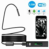 1200P Wireless Endoscope for iPhone Android, LEADNOVO WIFI Borescope Inspection HD Camera IP68 Waterproof Semi-rigid Snake Cable for IOS/MAC/Windows, Motor Engine/Sewer/Pipe/Vehicle-Black(11.5FT)