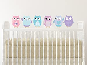 "Sunny Decals Owl Fabric Wall Decals (Set of 6), Small/6"", Pink/Turquoise/Purple"