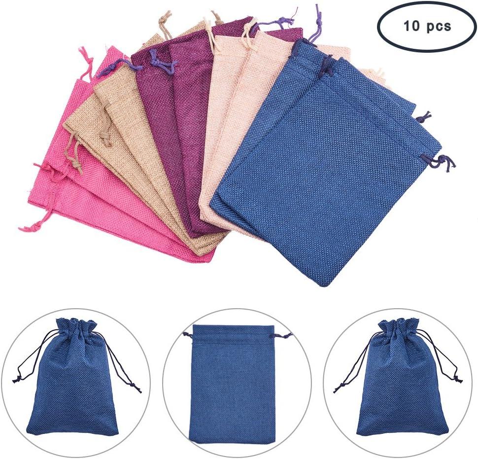Pandahall-Lot de 10Pcs Pochettes//Sachets en Lin//Chanvre avec Cordon Couleur Violet 9x7cm