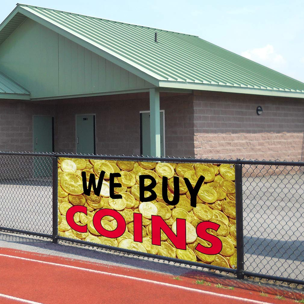 One Banner 8 Grommets Multiple Sizes Available 44inx110in Vinyl Banner Sign We Buy Coins #1 Style D Business Marketing Advertising Yellow