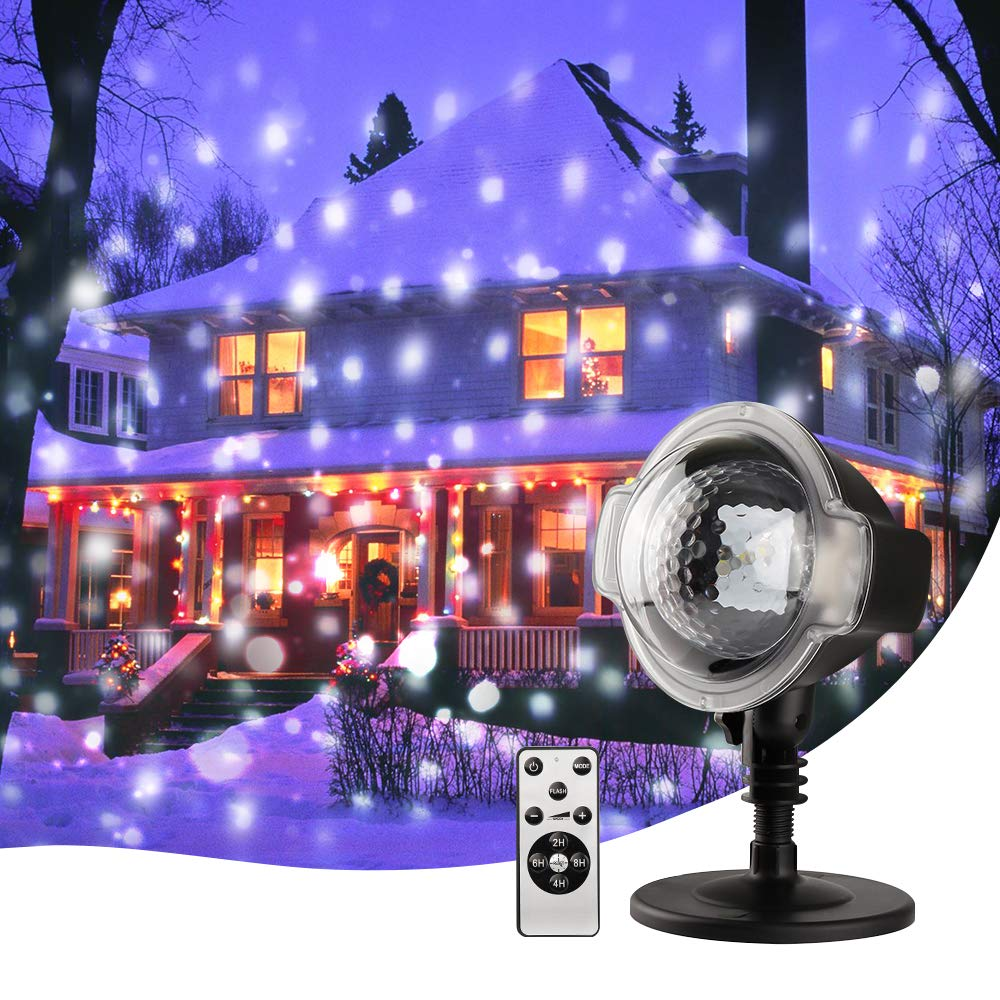 Snowfall Projector Lights, Christmas LED Snowflake Outdoor Projector Show with Wireless Remote, Waterproof, Timing Function, Rotating Projection Snowflake Lamp for Christmas Outdoor Decorations