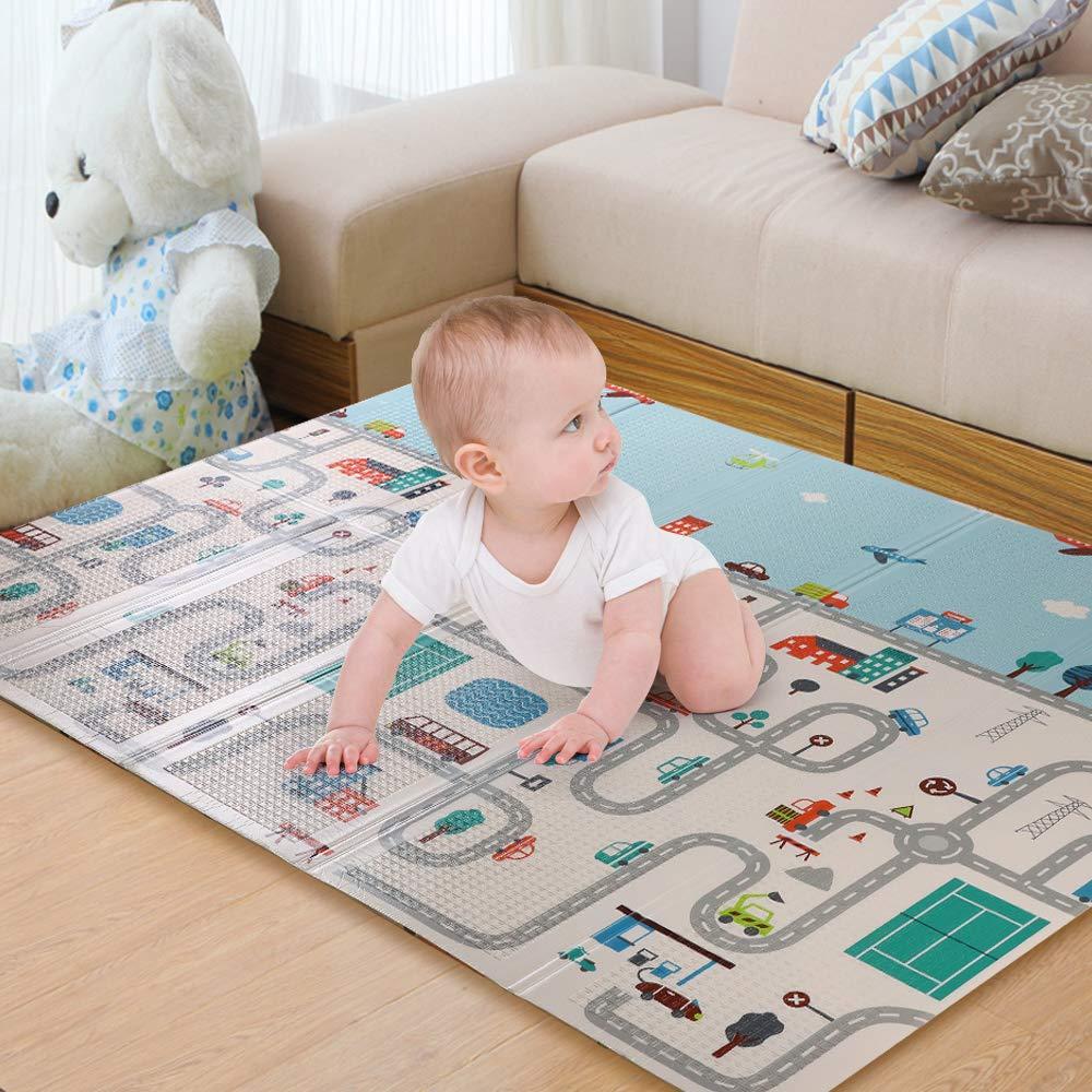 WonderView ベビープレイマット クローリングマット 折りたたみマット 両面ポータブル カラフルで防水プレイマット 子供 赤ちゃん 幼児用 厚手 特大 プレイマット   B07PDC6CXY