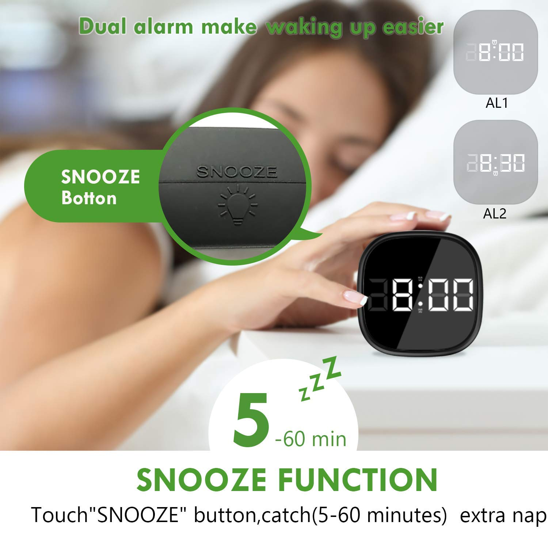 Ausein Digital Alarm Clock, Electronic LED Time Display, Adjustable Brightness Dimmer, 12/24Hr, Snooze, Adjustable Alarm Volume for Bedroom, Kidroon Black