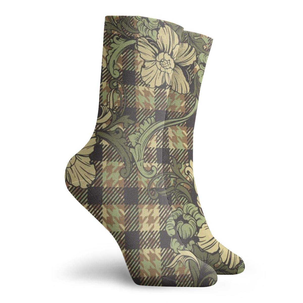 Plaid-with-flowers/_1015-120 Unisex Funny Casual Crew Socks Athletic Socks For Boys Girls Kids Teenagers