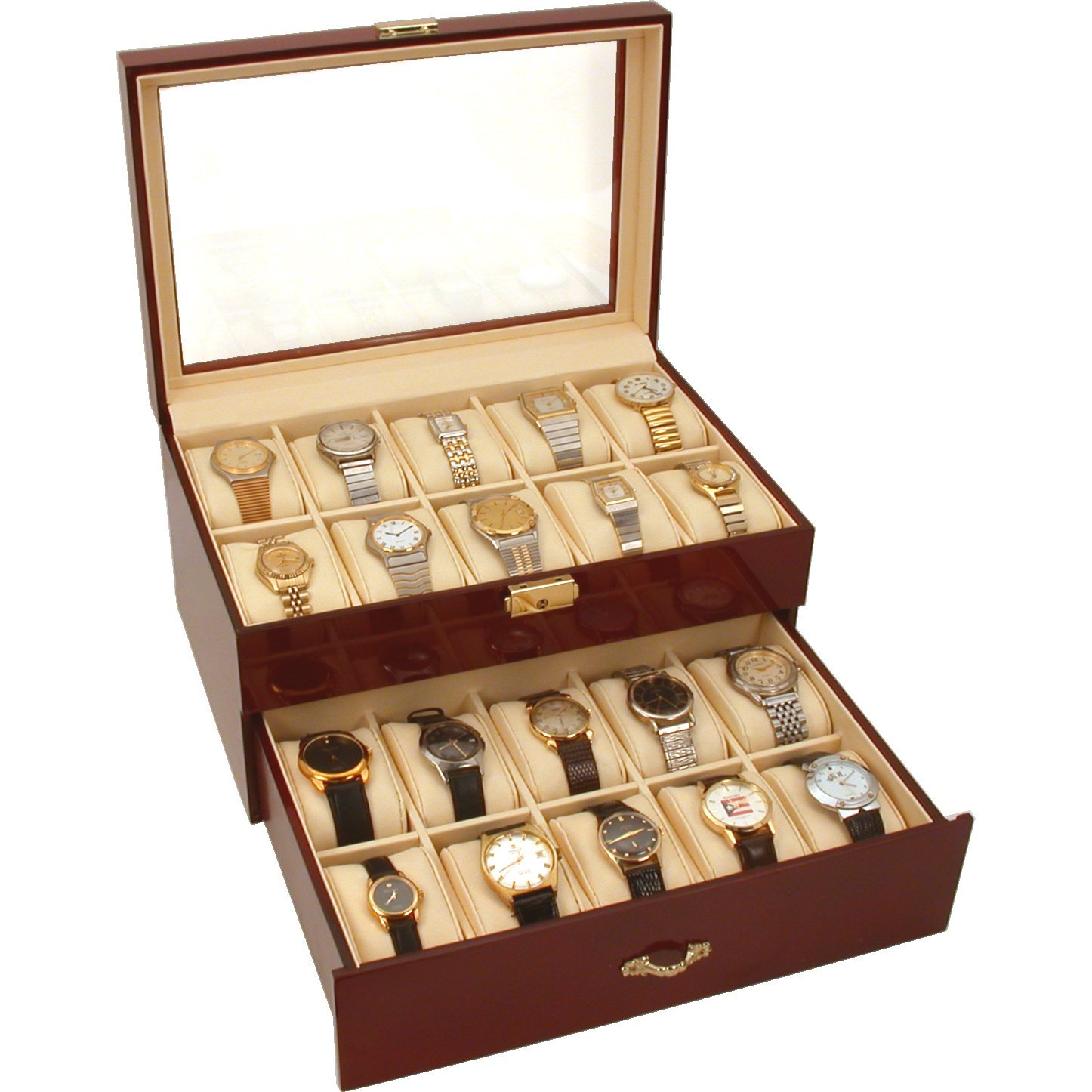 20 Watch Display Case Cherry Wood Color Clear Top Box