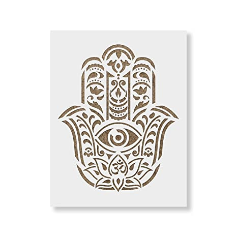 53eb93579 Amazon.com : Hamsa Palm Mandala Stencil Template for Walls and ...