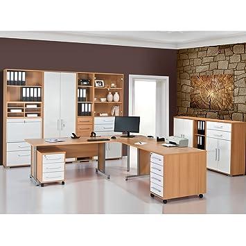 Arbeitszimmer Büromöbel MAJA SYSTEM 1299 Komplettset in Buche / Weiß ...