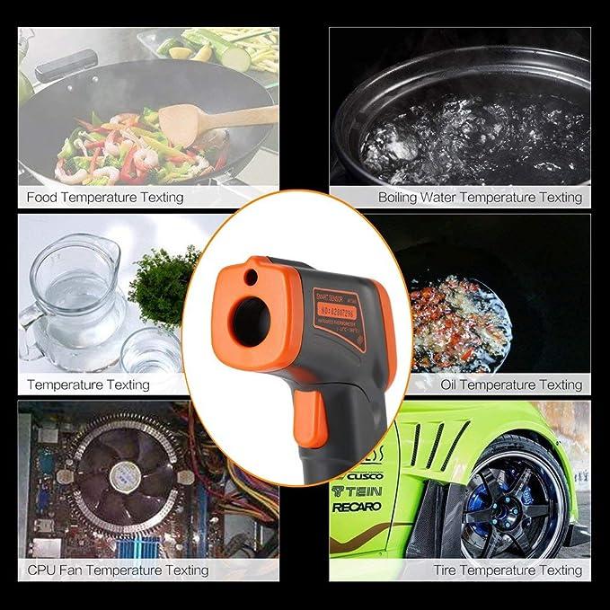 GGkdalio Smart Sensor LCD AT380 termómetro infrarrojo sin Contacto termómetro infrarrojo Temperatura pirómetro IR láser Punto Pistola -32~380 ℃ (Color: ...