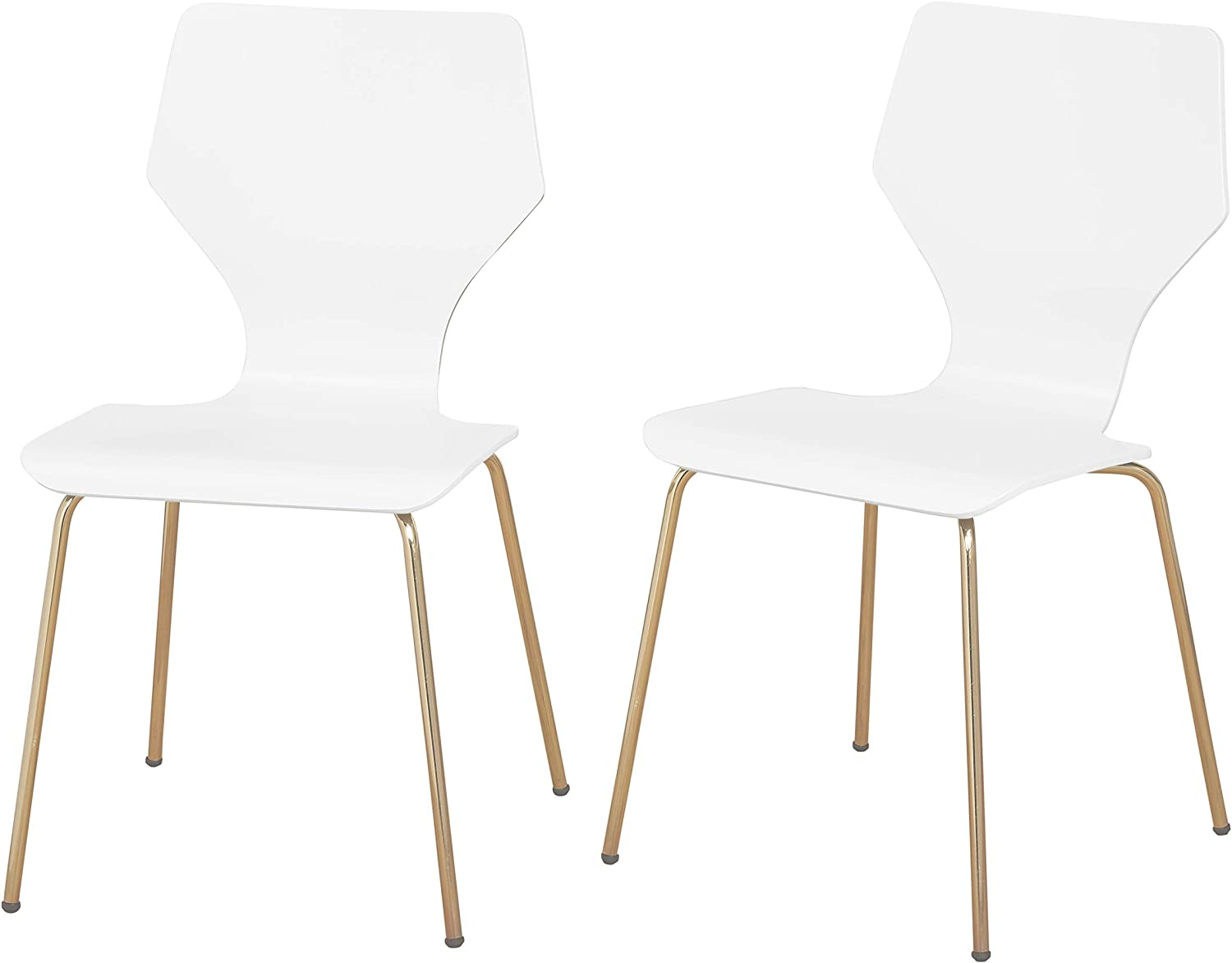 Angelo Home Enna Mid Century Bentwood Seat Dining Chair With Metal Legs Set Of 2 White Chairs Amazon Com