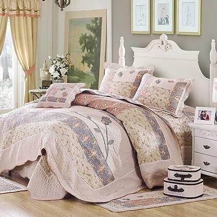 highbuy M Durable cómodo ropa de cama floral Patchwork acolchado para cama de matrimonio Beige y