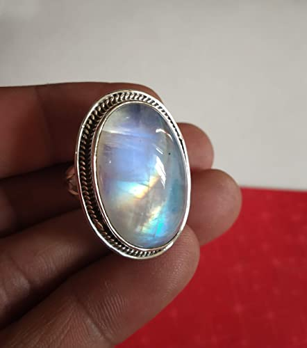 925 Sterling Silver Ring Natural Moonstone Gemstone Jewelry Birth Stone Rings