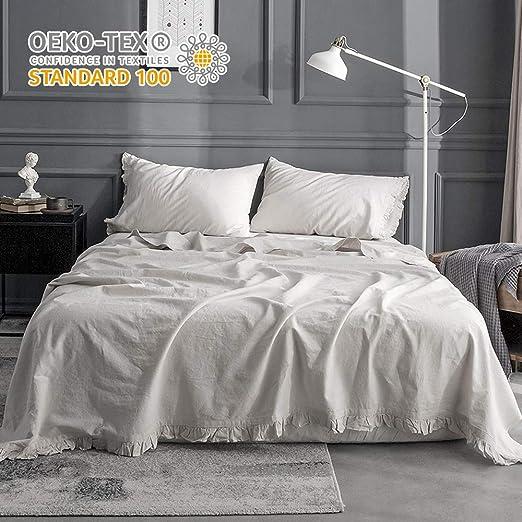 Pure cotton Linen Flax Bed Sheet Set Bedsheet Queen King flat Bedding bedspread