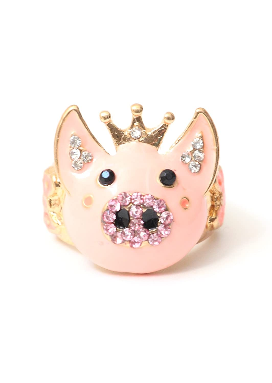 Magic Metal Pig Ring Size 6 Pink Crystal Farm Animal Piglet RI08 Cocktail Statement Fashion Jewelry